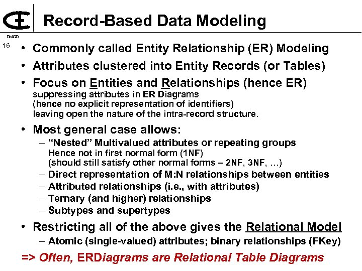 Record Based Data Modeling DMOD 16 • Commonly called Entity Relationship (ER) Modeling •