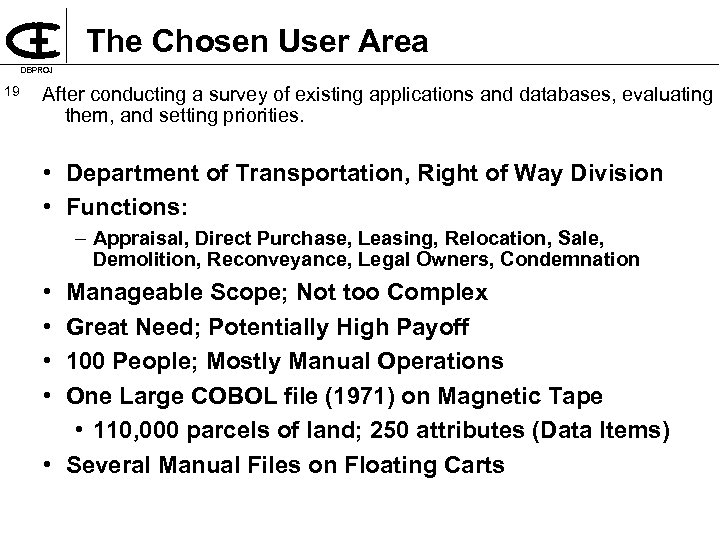 The Chosen User Area DBPROJ 19 After conducting a survey of existing applications and