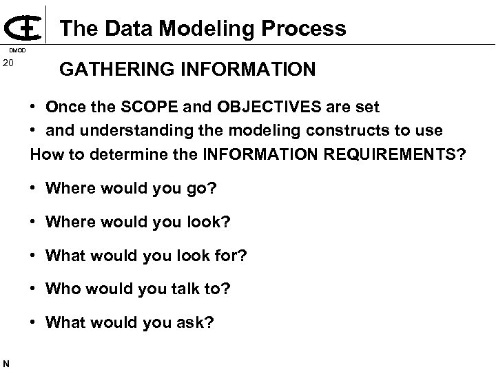 The Data Modeling Process DMOD 20 GATHERING INFORMATION • Once the SCOPE and OBJECTIVES
