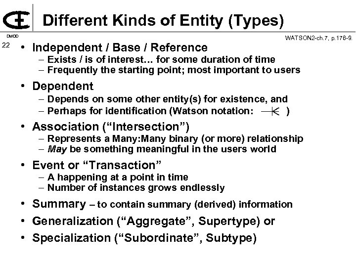 Different Kinds of Entity (Types) DMOD 22 • Independent / Base / Reference WATSON