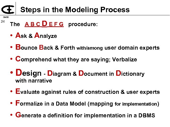 Steps in the Modeling Process DMOD 24 The A B C D E F