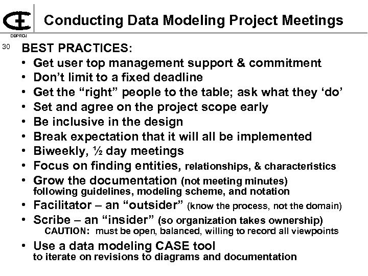 Conducting Data Modeling Project Meetings DBPROJ 30 BEST PRACTICES: • Get user top management