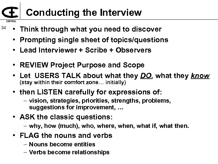 Conducting the Interview DBPROJ 34 • Think through what you need to discover •