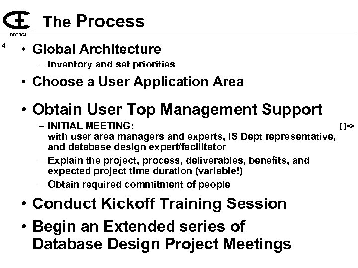 The Process DBPROJ 4 • Global Architecture – Inventory and set priorities • Choose