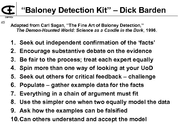 """Baloney Detection Kit"" – Dick Barden DBPROJ 45 Adapted from Carl Sagan, ""The Fine"