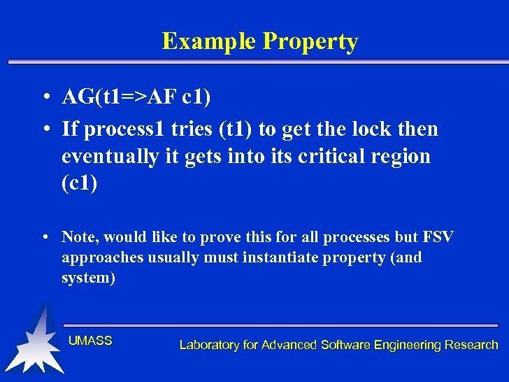 Example Property • AG(t 1=>AF c 1) • If process 1 tries (t 1)