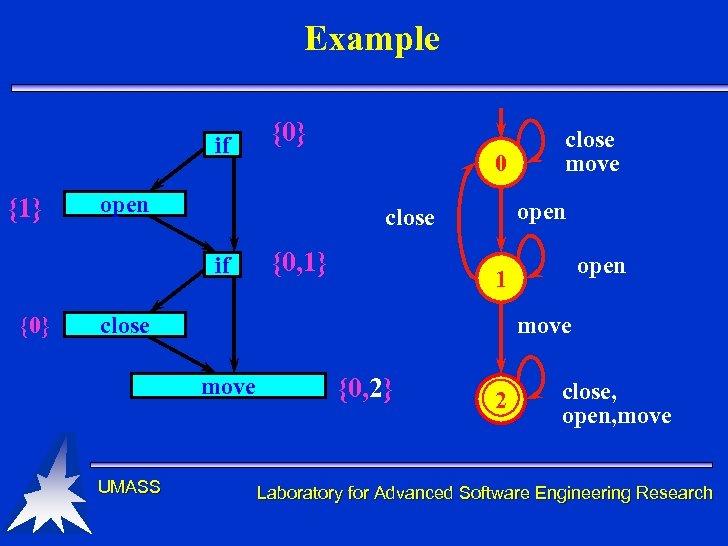 Example if {1} 0 open {0, 1} open 1 move close move UMASS close
