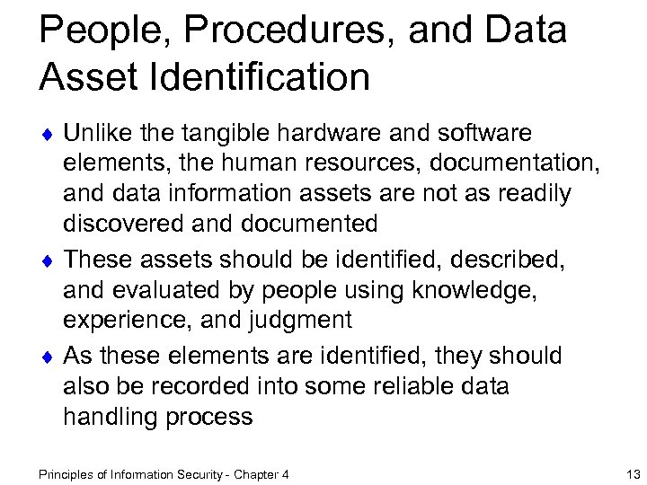 People, Procedures, and Data Asset Identification ¨ Unlike the tangible hardware and software elements,