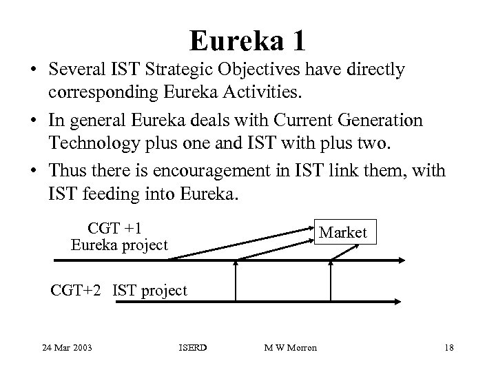 Eureka 1 • Several IST Strategic Objectives have directly corresponding Eureka Activities. • In