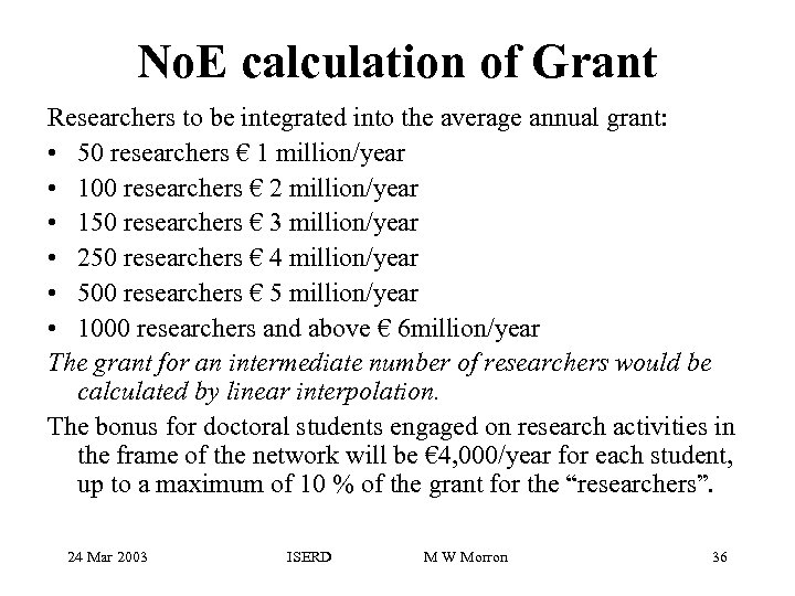 No. E calculation of Grant Researchers to be integrated into the average annual grant: