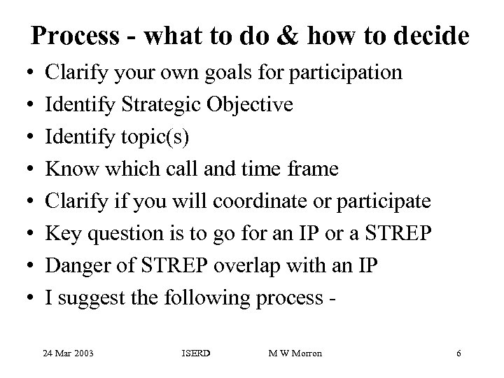 Process - what to do & how to decide • • Clarify your own