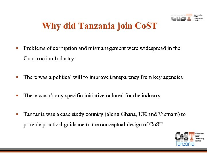 Why did Tanzania join Co. ST § Problems of corruption and mismanagement were widespread