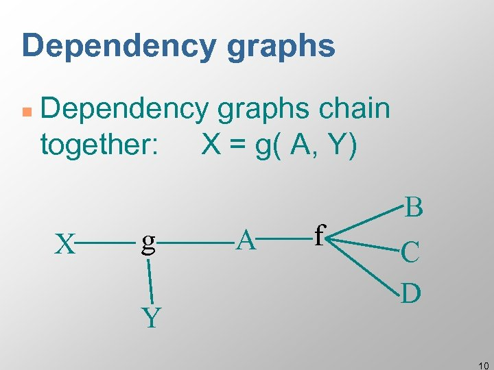 Dependency graphs n Dependency graphs chain together: X = g( A, Y) X g