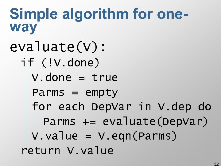 Simple algorithm for oneway evaluate(V): if (!V. done) V. done = true Parms =