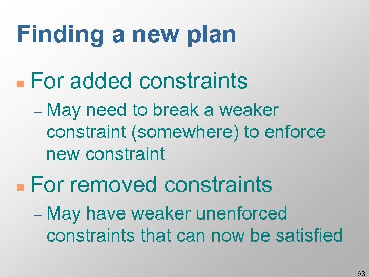 Finding a new plan n For added constraints – May need to break a