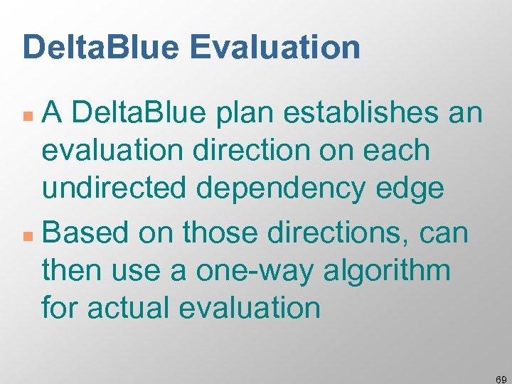 Delta. Blue Evaluation A Delta. Blue plan establishes an evaluation direction on each undirected