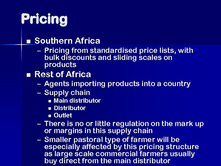 Pricing n Southern Africa – Pricing from standardised price lists, with bulk discounts and