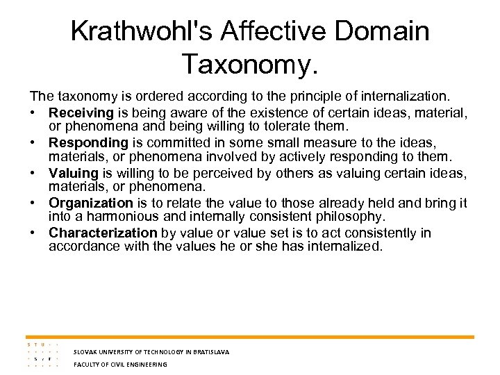 Krathwohl's Affective Domain Taxonomy. The taxonomy is ordered according to the principle of internalization.