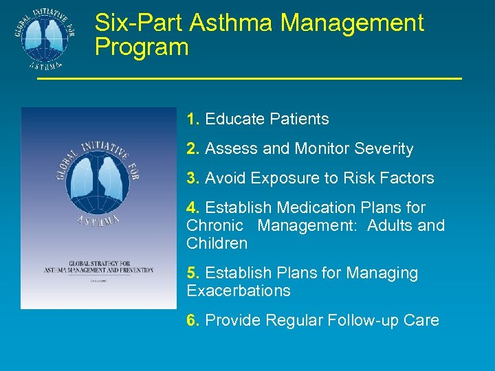 Six-Part Asthma Management Program 1. Educate Patients 2. Assess and Monitor Severity 3. Avoid