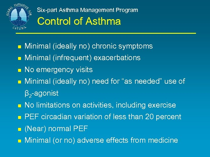 Six-part Asthma Management Program Control of Asthma Minimal (ideally no) chronic symptoms Minimal (infrequent)