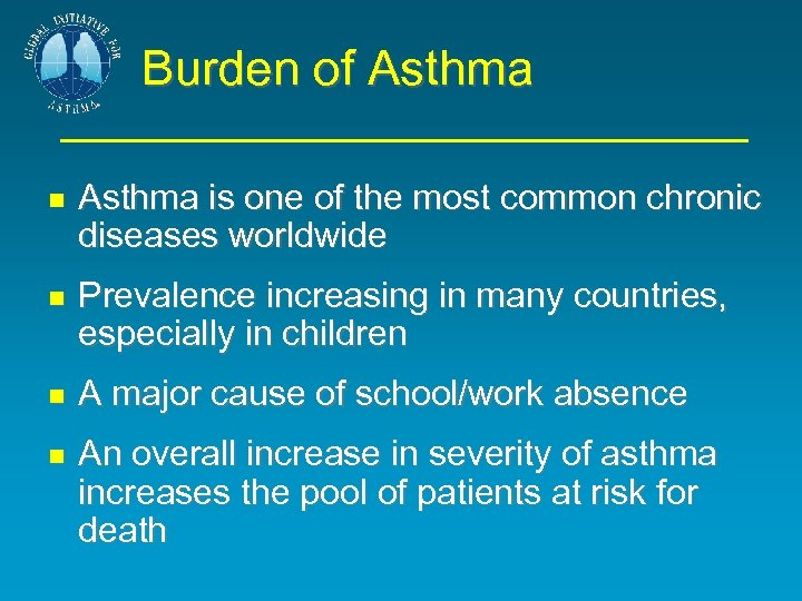 Burden of Asthma is one of the most common chronic diseases worldwide Prevalence increasing