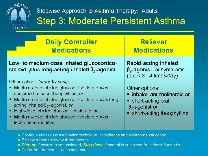 Stepwise Approach to Asthma Therapy: Adults Step 3: Moderate Persistent Asthma Daily Controller Medications