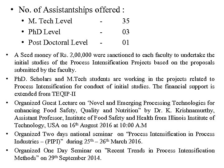 • No. of Assistantships offered : • M. Tech Level • Ph. D