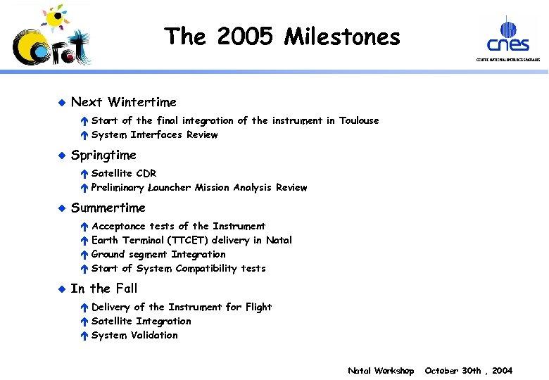 The 2005 Milestones u Next Wintertime é Start of the final integration of the