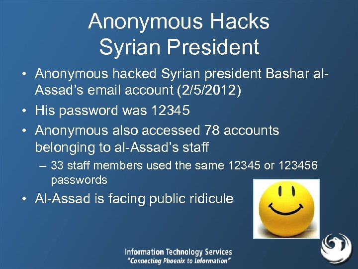 Anonymous Hacks Syrian President • Anonymous hacked Syrian president Bashar al. Assad's email account