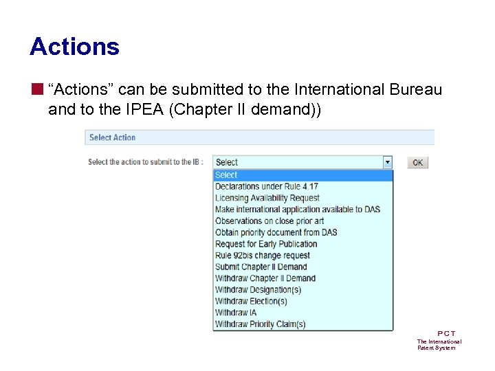 "Actions ■ ""Actions"" can be submitted to the International Bureau and to the IPEA"