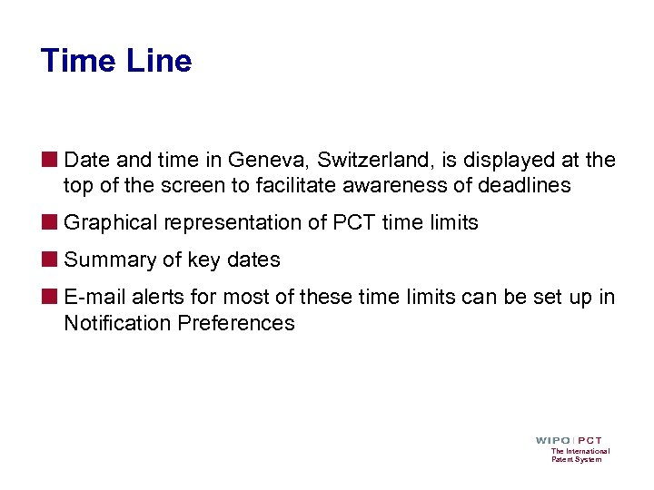 Time Line ■ Date and time in Geneva, Switzerland, is displayed at the top