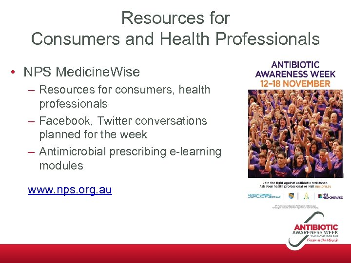 Resources for Consumers and Health Professionals • NPS Medicine. Wise – Resources for consumers,