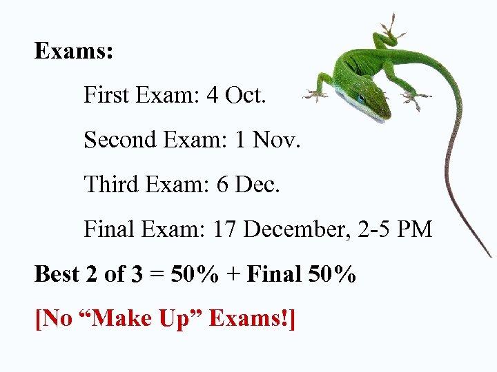 Exams: First Exam: 4 Oct. Second Exam: 1 Nov. Third Exam: 6 Dec. Final