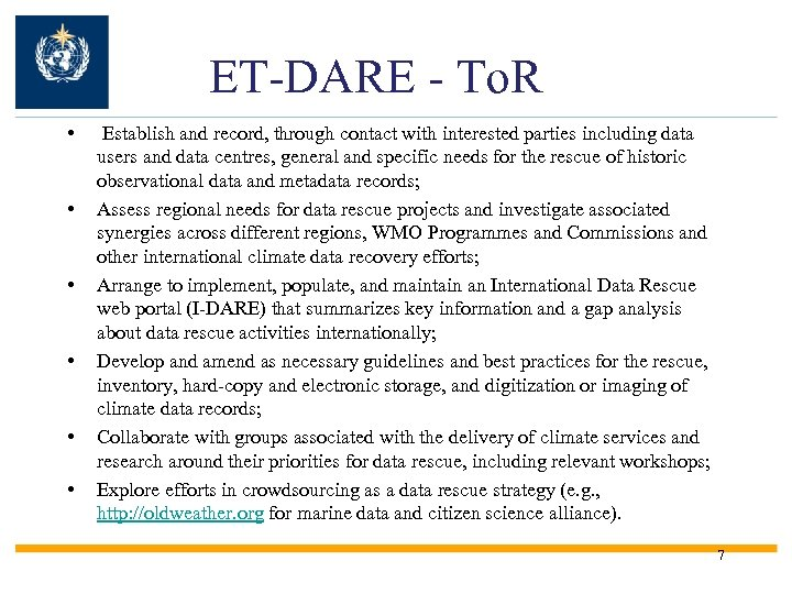 ET-DARE - To. R • • • Establish and record, through contact with interested