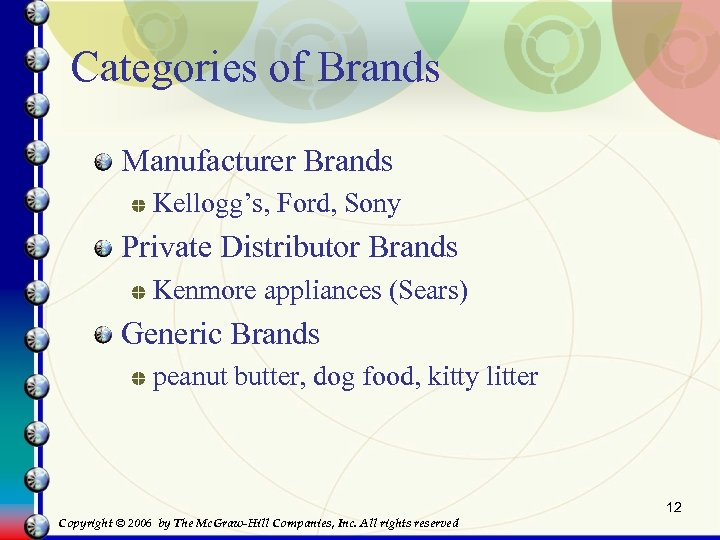Categories of Brands Manufacturer Brands Kellogg's, Ford, Sony Private Distributor Brands Kenmore appliances (Sears)