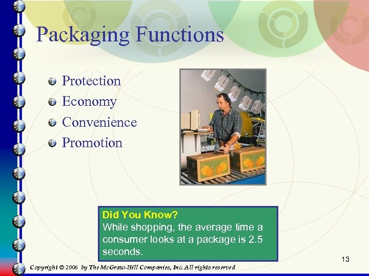 Packaging Functions Protection Economy Convenience Promotion Did You Know? While shopping, the average time