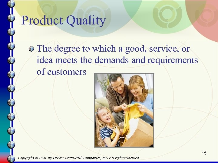 Product Quality The degree to which a good, service, or idea meets the demands