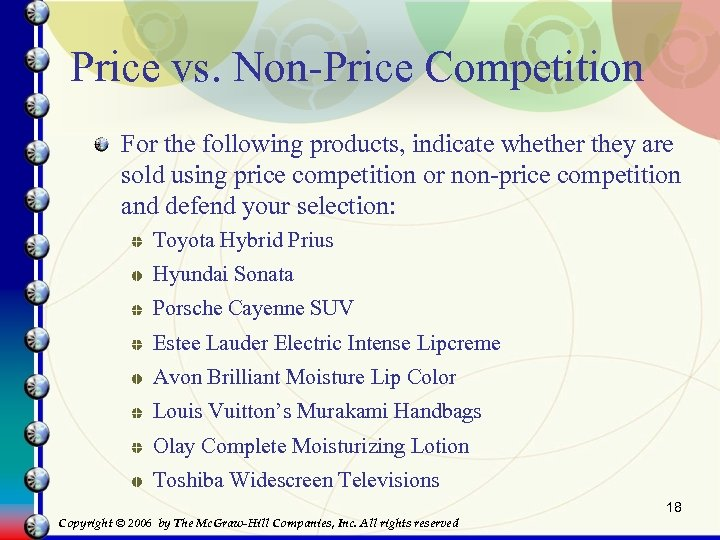 Price vs. Non-Price Competition For the following products, indicate whether they are sold using