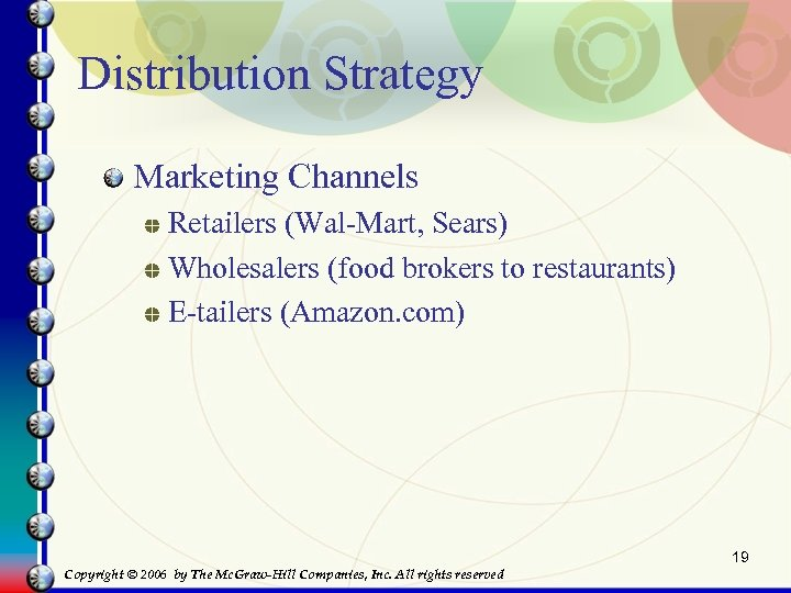 Distribution Strategy Marketing Channels Retailers (Wal-Mart, Sears) Wholesalers (food brokers to restaurants) E-tailers (Amazon.