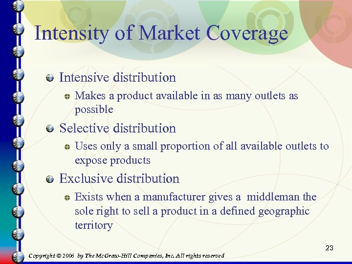 Intensity of Market Coverage Intensive distribution Makes a product available in as many outlets