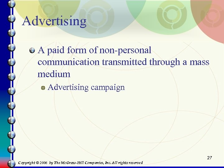 Advertising A paid form of non-personal communication transmitted through a mass medium Advertising campaign