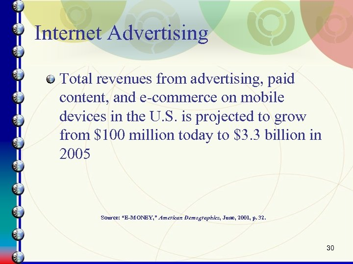 Internet Advertising Total revenues from advertising, paid content, and e-commerce on mobile devices in
