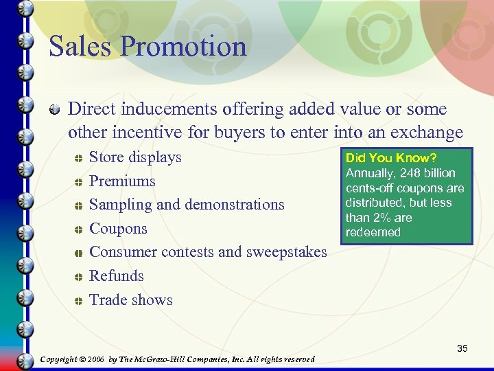 Sales Promotion Direct inducements offering added value or some other incentive for buyers to