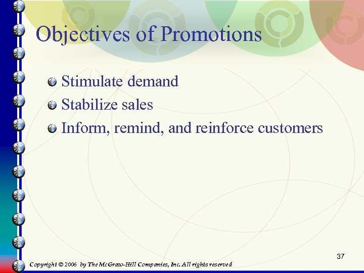 Objectives of Promotions Stimulate demand Stabilize sales Inform, remind, and reinforce customers 37 Copyright