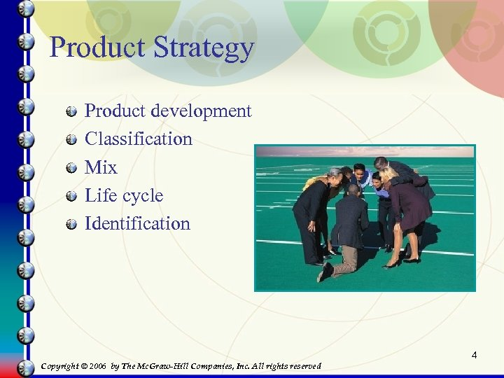 Product Strategy Product development Classification Mix Life cycle Identification 4 Copyright © 2006 by