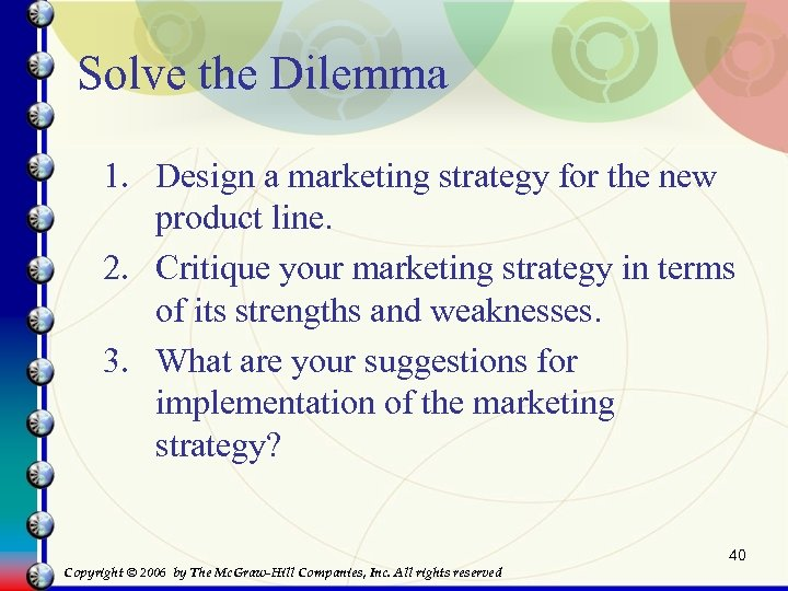 Solve the Dilemma 1. Design a marketing strategy for the new product line. 2.