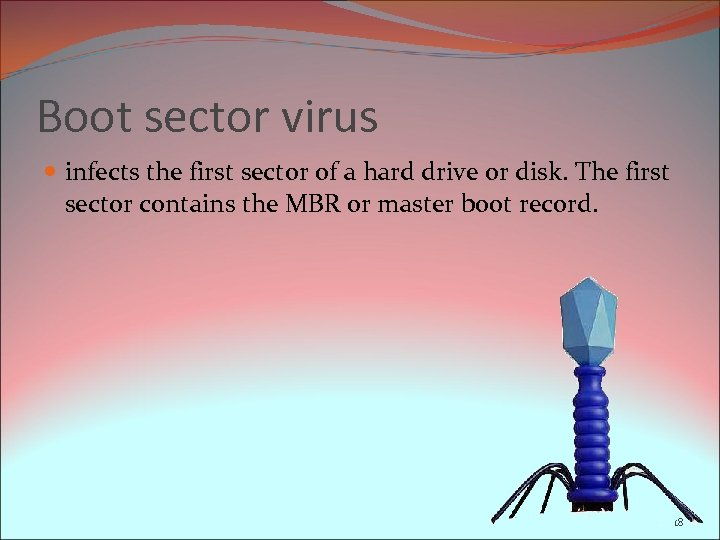 Boot sector virus infects the first sector of a hard drive or disk. The