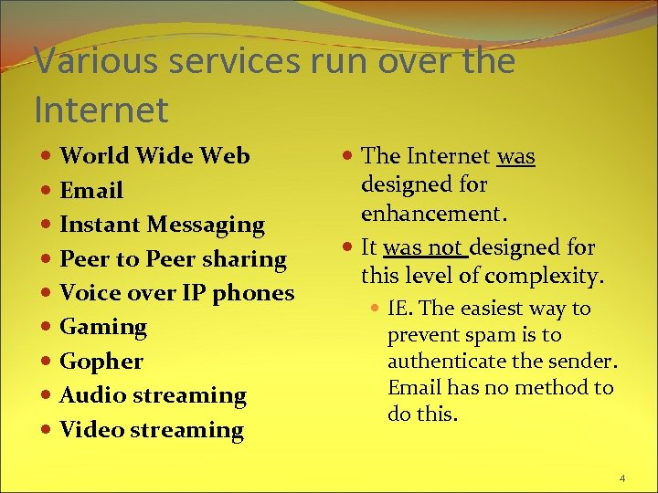Various services run over the Internet World Wide Web Email Instant Messaging Peer to