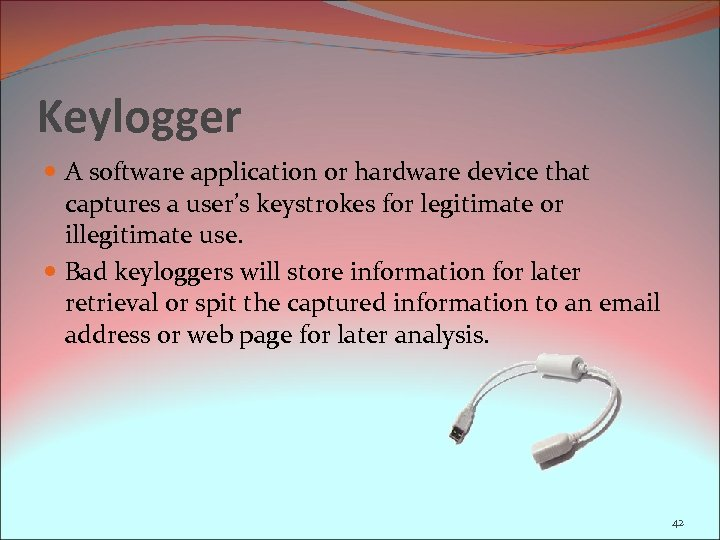 Keylogger A software application or hardware device that captures a user's keystrokes for legitimate