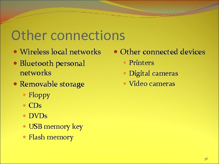 Other connections Wireless local networks Bluetooth personal networks Removable storage Floppy CDs DVDs USB